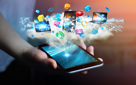 Tech devices and icons applications connected to businesswoman mobile phone