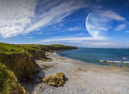 faraway: Distant planet system view from cliffs and ocean Stock Photo