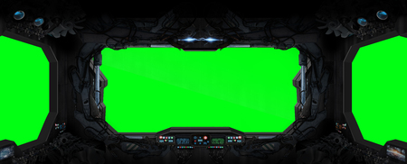 Window view from a space station in space green background