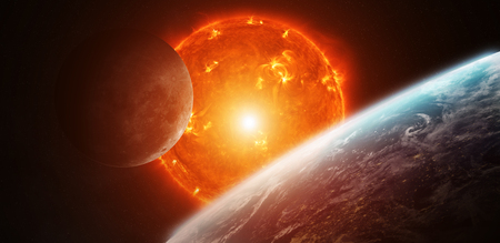 inhabited: Sun exploding close to inhabited planets system Stock Photo