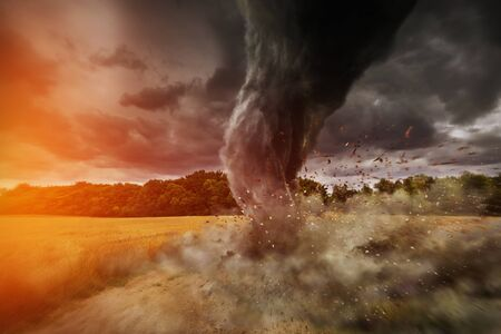 tempest: View of a large tornado destroying an entire city