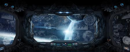 Vista della finestra di spazio e pianeti da una stazione spaziale