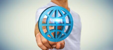 internet icon: Businessman using digital internet icon to surf on the web
