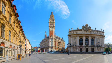 central chamber: View of Opera house and chamber of commerce in Lille France