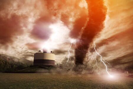 Image d'une grande tornade détruisant le paysage