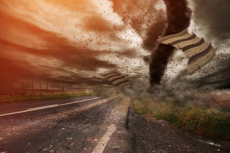 windstorm: Picture of a large tornado destroying the landscape Stock Photo