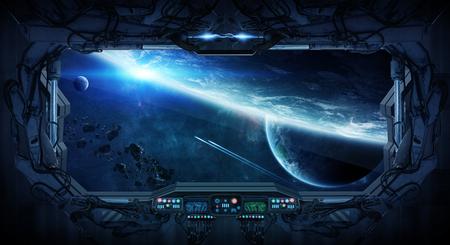 Widok z kosmosu z okna stacji kosmicznej Zdjęcie Seryjne