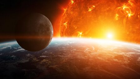 annihilation: Sun exploding close to inhabited planets system Stock Photo