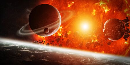 climate changes: Sun exploding close to inhabited planets system Stock Photo