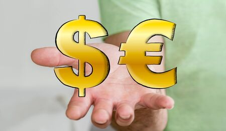equivalent: Young man holding hand drawn dollar and euro icons in his hand Stock Photo