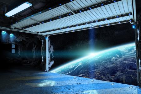 Fensteransicht der Planetenerde von einer Shuttle-Piste