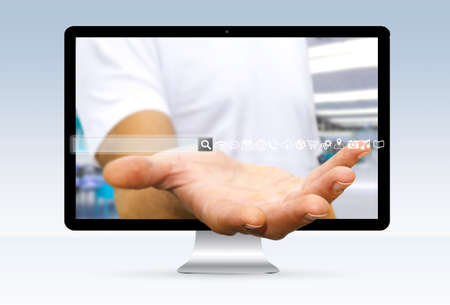 address bar: Businessman going out of a computer screen with digital tactile web address bar Stock Photo
