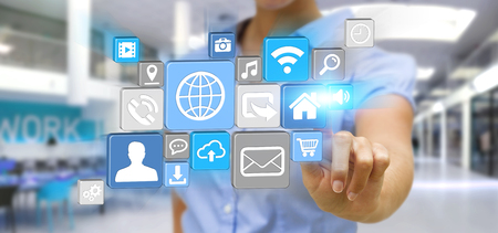 connexion: Young businesswoman holding modern digital icon application in his hand Stock Photo