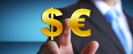 Businessman touching hand drawn dollar and euro icons with his finger
