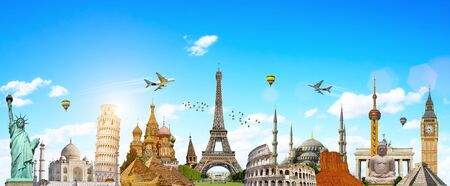 grouped: Famous landmarks of the world grouped together