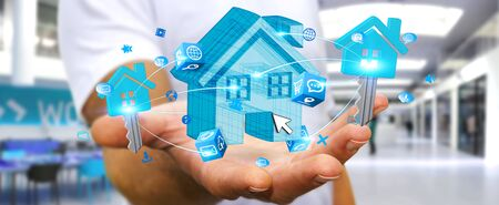 ownerships: Businessman connecting digital blue house and keys