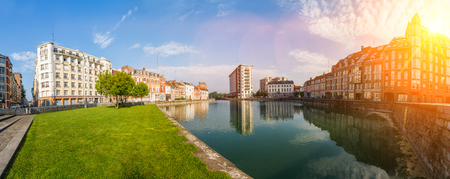View of Quai du Wault in Lille France during a sunny day