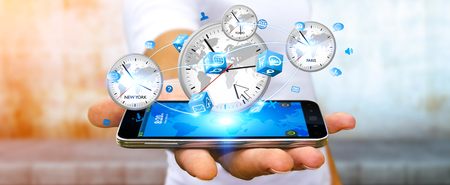 Businessman connecting four white timers from different countries with his mobile phone
