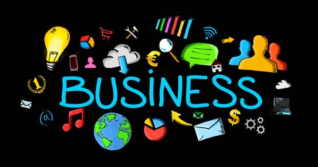 Hand-drawn business illustration on black background Stock Photo