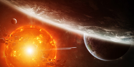 armageddon: Sun exploding close to inhabited planets system Stock Photo