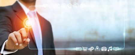 Businessman surfing on internet with digital tactile web address interface Stock Photo