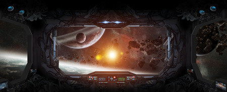 우주 정거장에서 우주와 행성의 창보기 스톡 콘텐츠 - 61788908