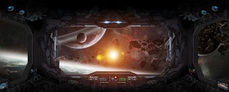 Raam uitzicht op de ruimte en de planeten van een ruimtestation