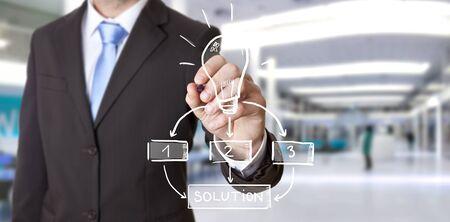 Business man drawing lightbulb with a pen 版權商用圖片