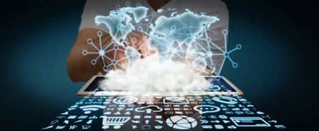 World over a cloud with connections and modern icons in businessman hand Stock Photo