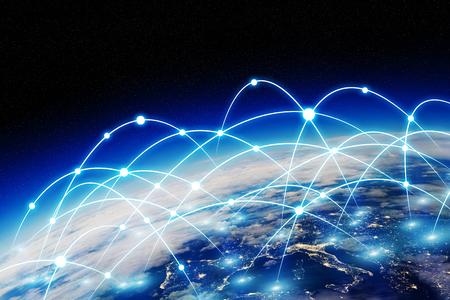 La red y el intercambio de datos sobre el planeta tierra en el espacio Foto de archivo - 61788791