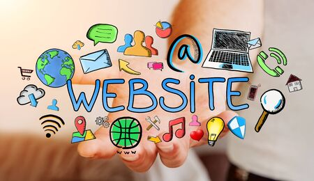 Man holding hand-drawn internet presentation in his hand on blurred background