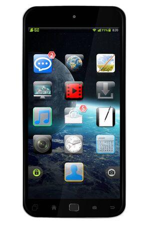 Modern digital smart phone on white background 3D rendering