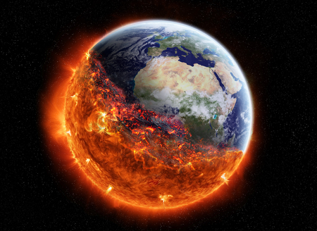 the end of the world: View of planet earth burning in space