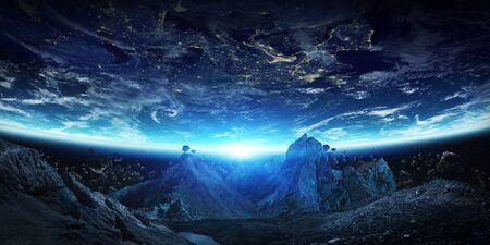 Gigantic asteroids in space about to crash on planet earth 3D rendering elements Stock Photo
