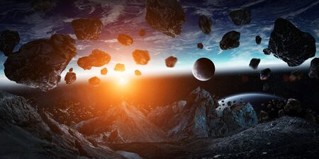 gigantic: Gigantic asteroids in space about to crash on planet earth 3D rendering elements of this image furnished by NASA