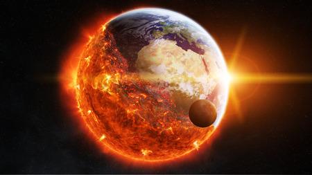 Vue sur la planète terre qui brûle dans l'espace Banque d'images - 62141957