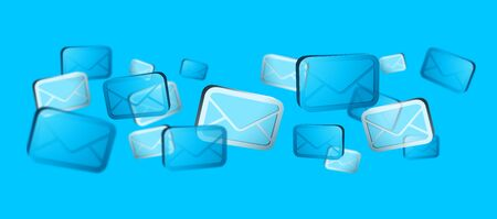 Numerous white and blue email icons flying on blue background '3D rendering' Stock Photo