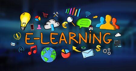 application university: Hand-drawn e-learning illustration on blue background