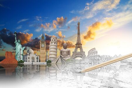 excursion: Famous landmarks of the world with hand-drawn effect