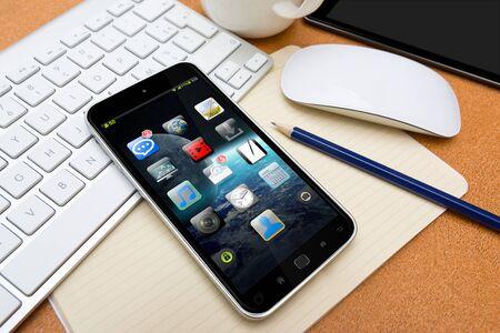 Téléphone mobile moderne avec une interface sur un bureau dans le bureau 3D rendu Banque d'images - 62141061
