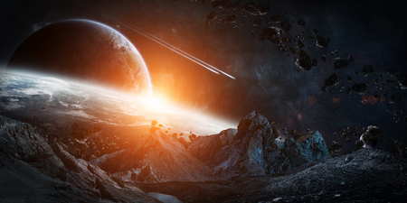 gigantic: Gigantic asteroids in space about to crash on planets 3D rendering Stock Photo
