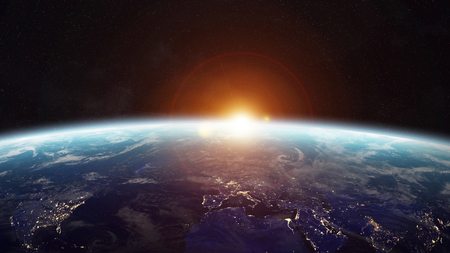 earth from space: View of the planet Earth from space during a sunrise 3D rendering Stock Photo