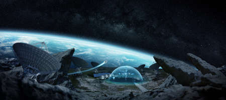 radio telescope: Observatory station in space on an asteroid with dome protection and radio telescope 3D rendering
