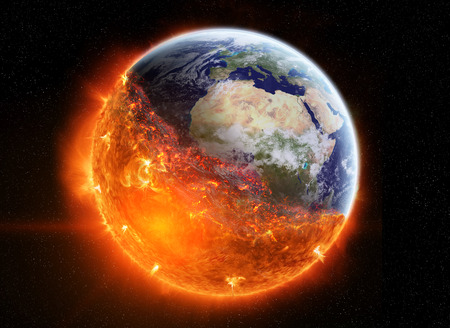 View of planet earth burning in space