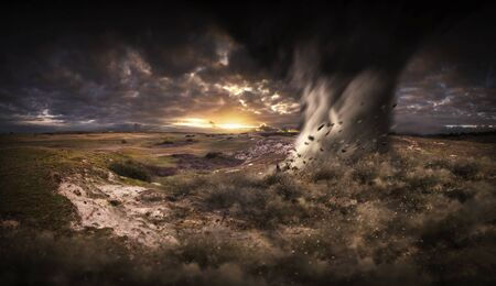 View of a large tornados destroying the landscape