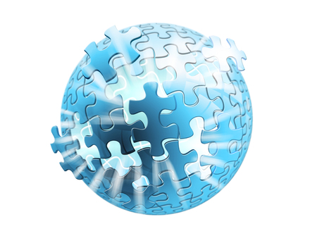 3D rendering puzzle sphere with lights going through Stock Photo