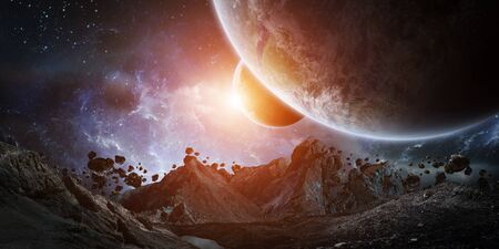 gigantic: Gigantic asteroids in space about to crash on planet earth 3D rendering Stock Photo