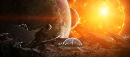 Stazione Osservatorio nello spazio su un asteroide con protezione cupola e radio telescopio di rendering 3D