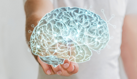 neurons: Man touching x-ray human brain with cell and neurons activity