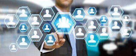 connexion: Businessman using digital social network interface Stock Photo